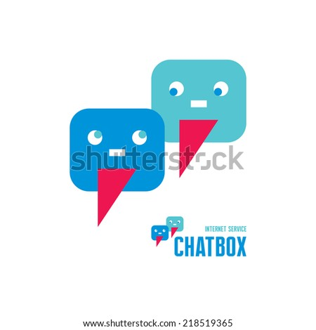 Chatbox - abstract creative logo sign. Vector logo template. Internet and mobile chat illustration concept. Human logo. Human icon. Human character illustration. Design element.   - stock vector