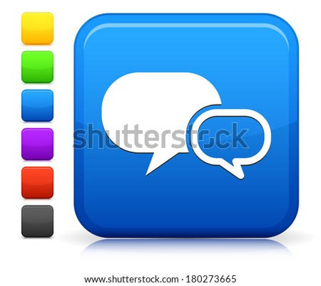 Chatbubble Icon on Square Internet Button Collection - stock vector