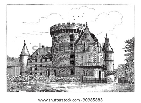 Chateau of Rambouillet, vintage engraved illustration. Dictionary of words and things - Larive and Fleury - 1895. - stock vector