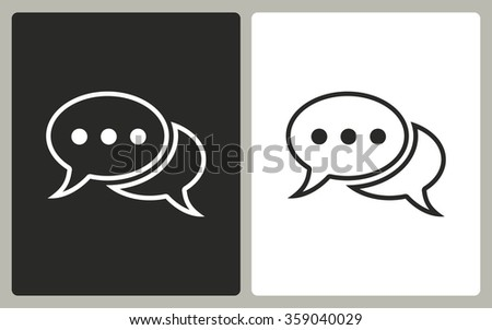 Chatting  -  black and white icons. Vector illustration. - stock vector