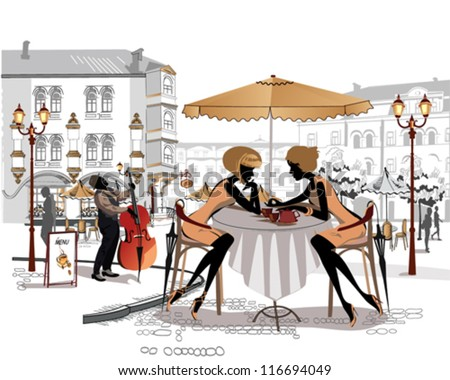Chatting girls and a musician in the street cafe in the old city - stock vector