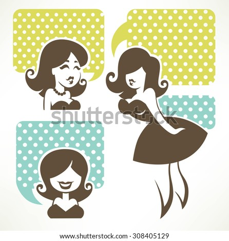 chatting girls, vector set of  retro girls images with speech bubbles - stock vector