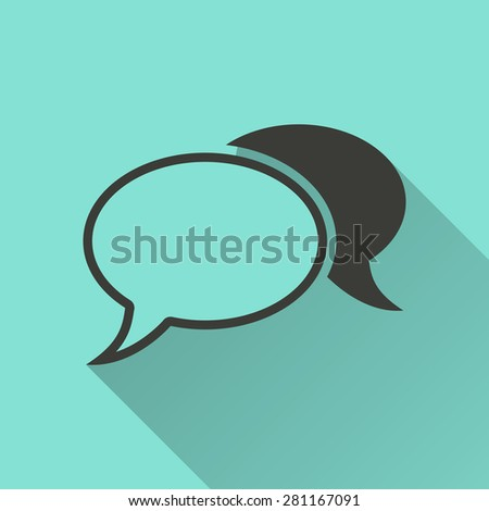 Chatting - vector icon in black on a green background. - stock vector