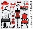 Chcik boudoir accesories - stock vector