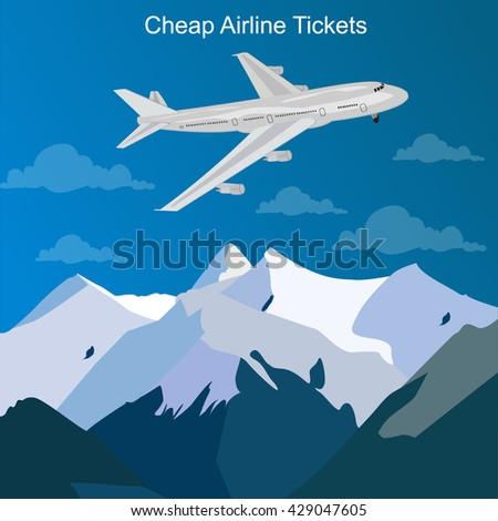 cheap airline tickets concept, vector illustration - stock vector