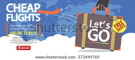Cheap Flight For Sale 1500x600 Banner Vector Illustration