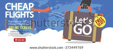 Cheap Flight For Sale 1500x600 Banner Vector Illustration  - stock vector