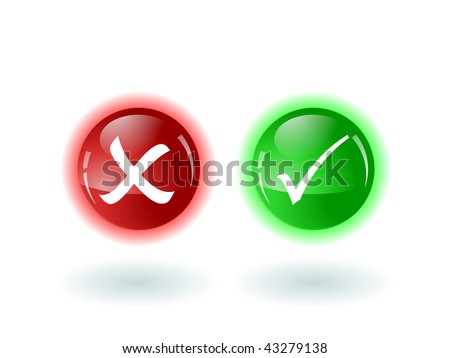check and error buttons - stock vector