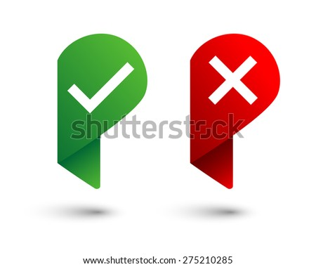 Check and x mark pin icons - stock vector