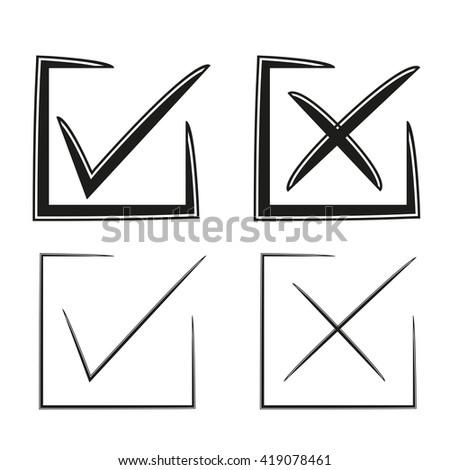 check box, check mark, wrong mark, list icons - stock vector