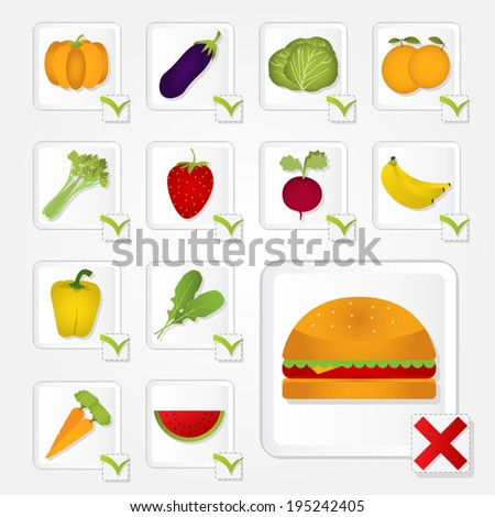 Check box with healthy food and unhealthy. Fruits, vegetables and burger. Checklist of healthy food and unhealthy - stock vector
