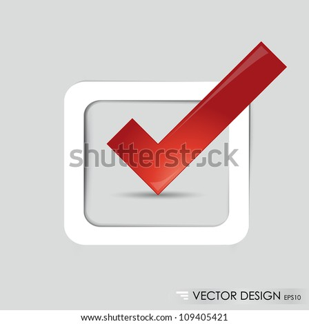Check-box with red check-mark , vector illustration. - stock vector