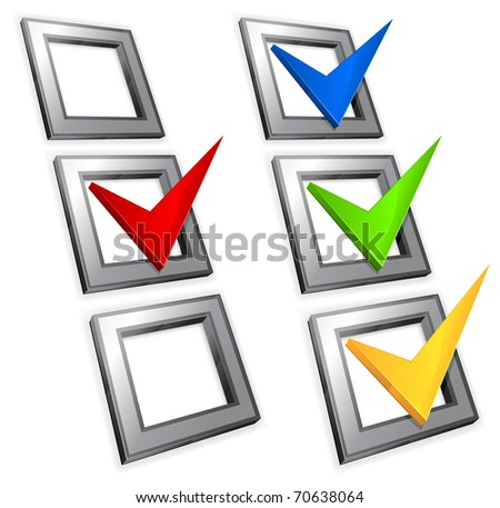 Check boxes with color check marks isolated on white background, vector illustration
