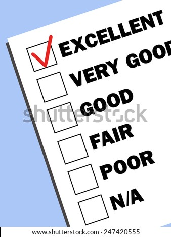 check boxes with test results with a  tick on excellent mark