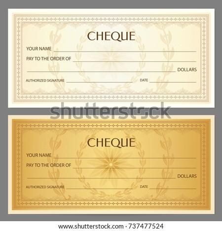 check cheque chequebook template guilloche patternのベクター画像素材