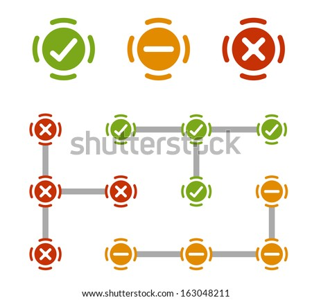 check cross and neutral elements - stock vector