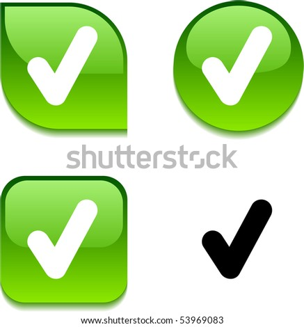 Check glossy vibrant web buttons. - stock vector