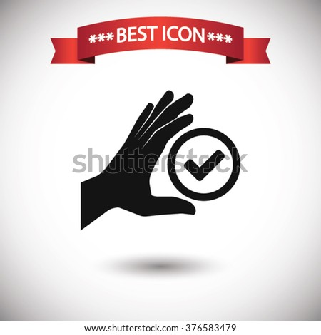 Check hand icon vector, Check hand icon eps10, Check hand icon picture, Check hand icon flat, Check hand icon, Check hand web icon, Check hand icon art, Check hand icon drawing, Check hand icon, Check - stock vector