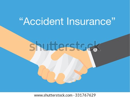 Check hand of hand has first aid with bandage and hand of business . This illustration meaning to personal insurance accident coverage - stock vector