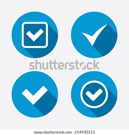 Check icons. Checkbox confirm circle sign symbols. Circle concept web buttons. Vector - stock vector