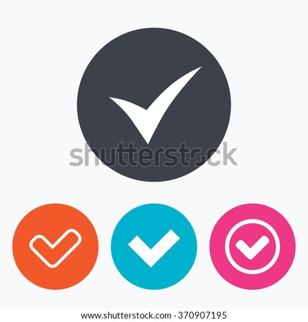 Check icons. Checkbox confirm circle sign symbols. Circle flat buttons with icon. - stock vector