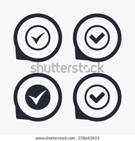 Check icons. Checkbox confirm circle sign symbols. Flat icon pointers. - stock vector