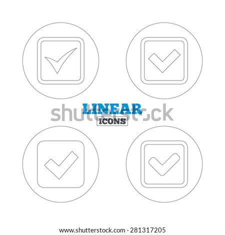 Check icons. Checkbox confirm squares sign symbols. Linear outline web icons. Vector - stock vector