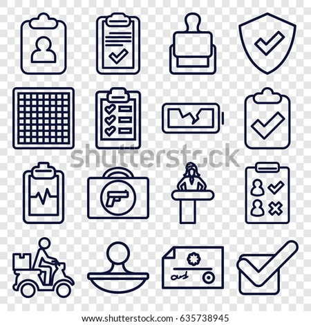 Check icons set. set of 16 check outline icons such as briefcase with weapon, airport desk, stamp, heartbeat clipboard, courier on motorcycle, clipboard, tick, broken battery