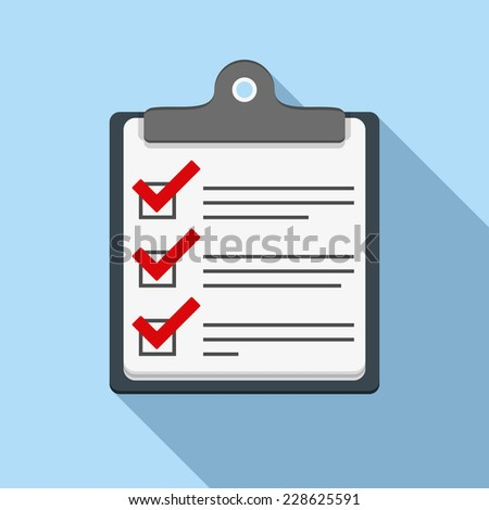 Check list icon, flat design with long shadow, vector eps10 illustration - stock vector