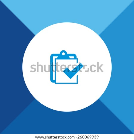 Check List Icon on Blue Background. Eps-10. - stock vector