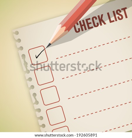Check list note with pencil vector - stock vector