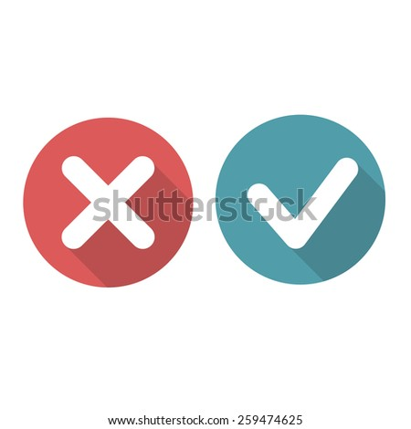 check mark and cross flat icons. vector illustration - stock vector