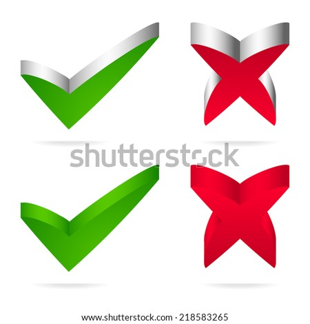 Check-mark and cross (for correct, right, incorrect, wrong, accept, refuse concepts) - stock vector