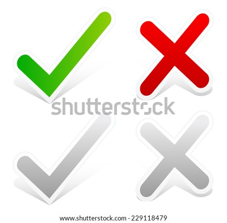 Check mark and cross set with drop shadow. (grey versions included) - stock vector