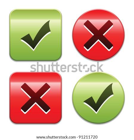 Check mark buttons. Vector illustration. - stock vector