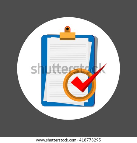 check mark, check list  icon, flat design vector illustrator - stock vector