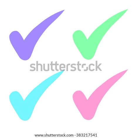 check mark choice colorful pastel vector. - stock vector