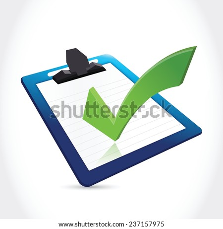 check mark clipboard illustration design over a white background