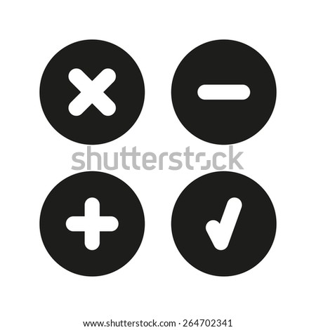 Check mark, delete, plus and minus icons.Simple set. Vector illustration.