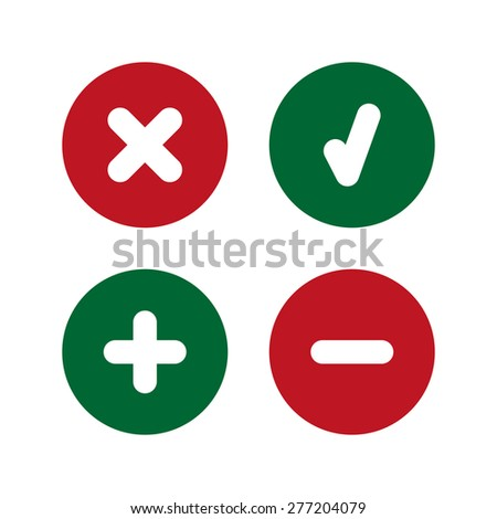 Check mark, delete, plus and minus icons. Simple set. Vector illustration. Flat design style.