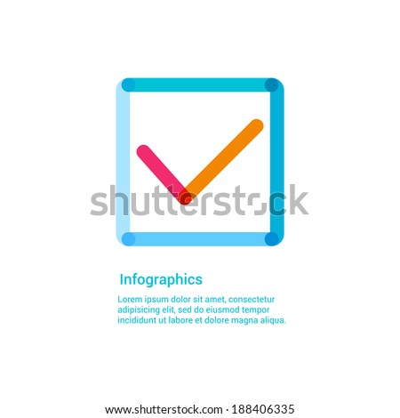 Check mark flat line icon infographic illustration template for web or brochure. OK, done, complete, choice concept. - stock vector