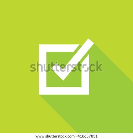 Check Mark Flat Long Shadow Icon - stock vector
