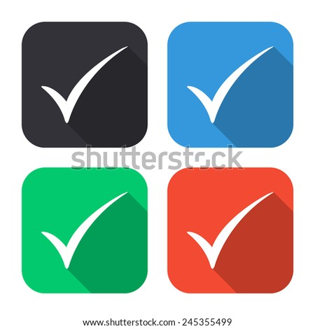 check mark icon - colored illustration (gray, blue, green, red) with long shadow - stock vector
