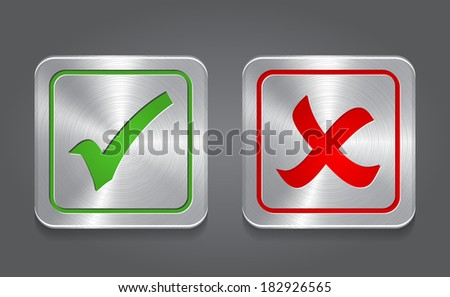 Check mark icon. Metal app button. Vector - stock vector