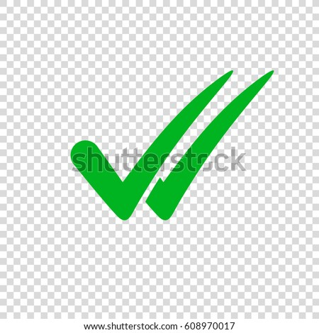 Check Mark Icon On Transparent Background Stock Vector 608970017