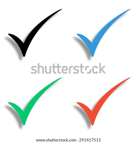 check mark icon with shadow - colored vector set - stock vector