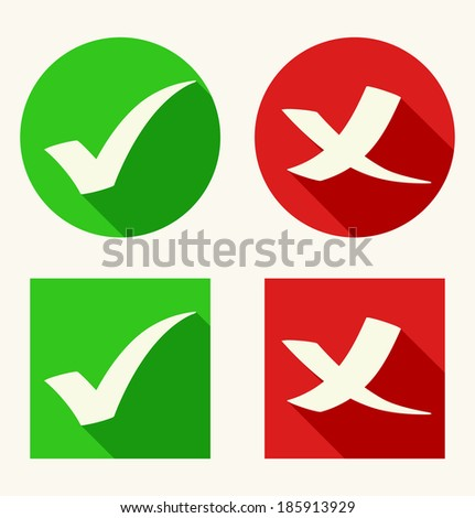 Check mark icons in flat style with long shadows. Vector illustration - stock vector