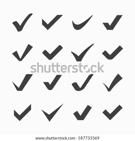 Check mark icons. Vector. - stock vector