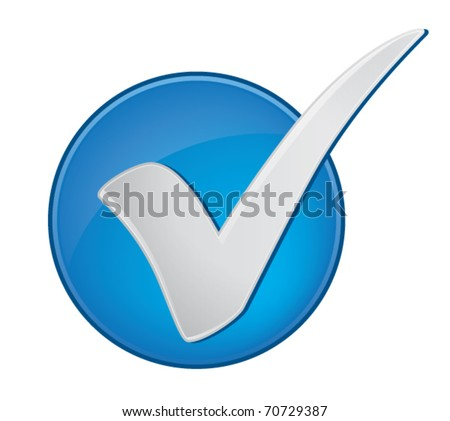 Check mark in a blue circle - stock vector