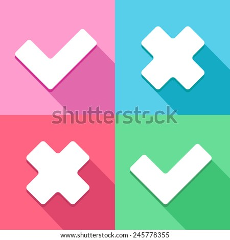 Check mark OK and Cancel icons set great for any use. Vector EPS10. - stock vector